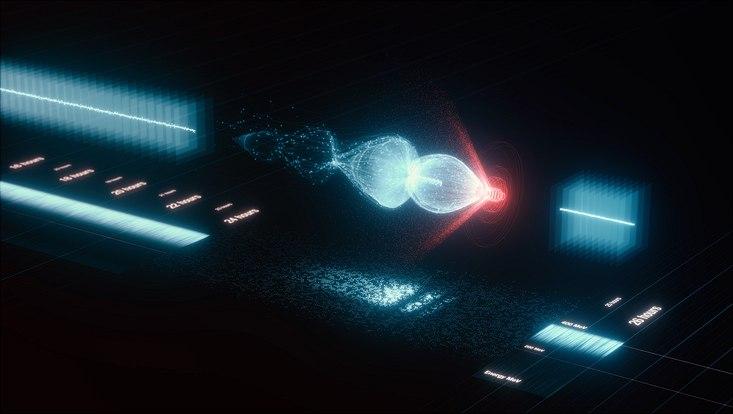 Bei der Laser-Plasmabeschleunigung erzeugt ein starker Laserpuls (rot) im Wasserstoffgas eine Plasmawelle (blau), indem er Gasmoleküle von ihren Elektronen trennt. Die Elektronen (rot) surfen auf der Welle wie ein Wakeboarder hinter dem Heck eines Bo
