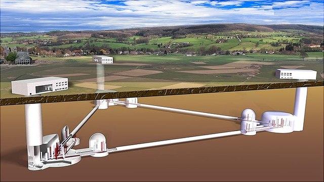 Grafische Abbildung eines zukünftigen Einstein Teleskops mit überirdischen Gebäuden und unterirdischen Verbindungen