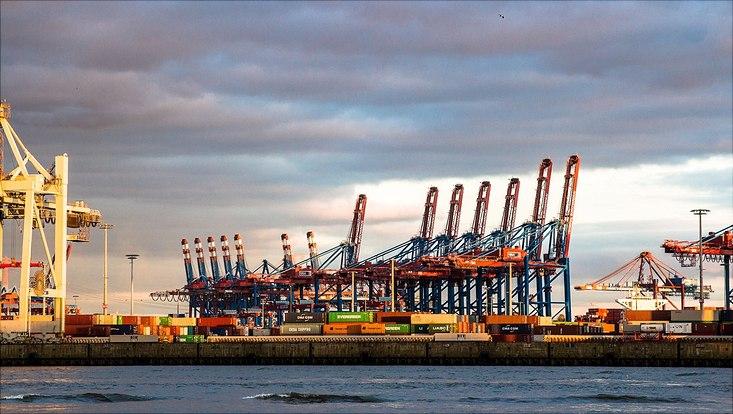 Hamburger Hafen am Abend, Hafenkrähne