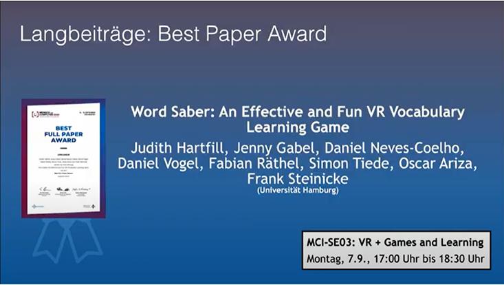 Best Paper Award at GI MuC 2020