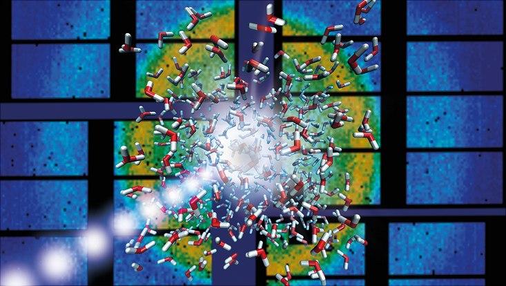 Die Röntgenblitze des European XFEL (violett) erhitzen nicht nur das Wasser (rot-weiße Moleküle), sondern erzeugen auch ein Streubild (Hintergrund), aus dem sich der Zustand der Probe nach jedem Blitz ablesen lässt. So ergibt sich der detaillierte ze