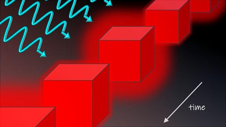 Illustration: Forschende der Universität Hamburg schlagen vor, aus einem Hochtemperatursupraleiter einen Zeitkristall zu erzeugen, indem man ihn mit Licht bestrahlt. Dadurch entstehen makroskopische Schwingungen des Higgs-Feldes.