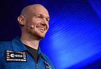 Astronaut Alexander Gerst im Audimax.