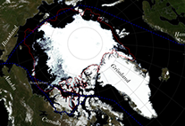 map arctic sea ice cover 2015