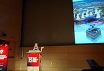Meike Ruhnau präsentiert das Spiel StadtklimaArchitekt beim Games-for-Change-Festival in New York