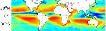 Globale Karte der Differenz von Verdunstung minus Niederschlag, Mittel von 2010 bis 2014