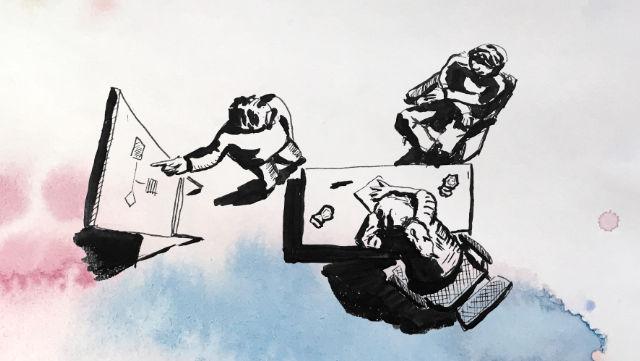 Zeichnung eines Beratungsgesprächs