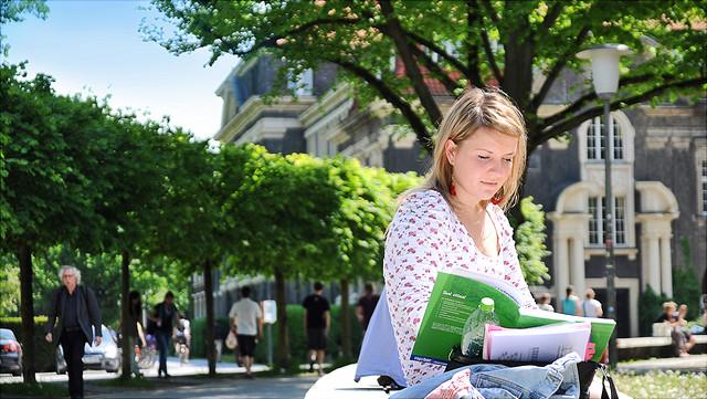Studentin auf dem Campus, lesend.