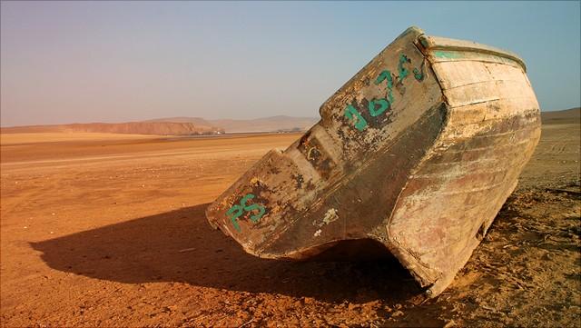 Boot während einer Dürre