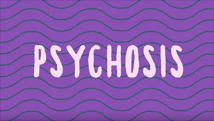"""Schriftzug """"Psychosis"""" auf lila Hintergrund mit türkisen Wellenlinien"""