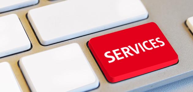 Taste mit der Beschriftung Services