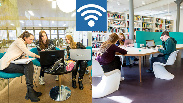 Studierende mit Laptops in der WiSo-Bibliothek / Students with laptops in WiSo-Library