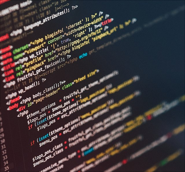 Code auf Monitor
