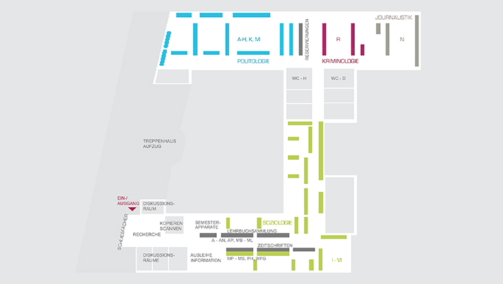 Orientierungsplan Fachbibliothek Sozialwiss./Floor plan Social Sciences Library
