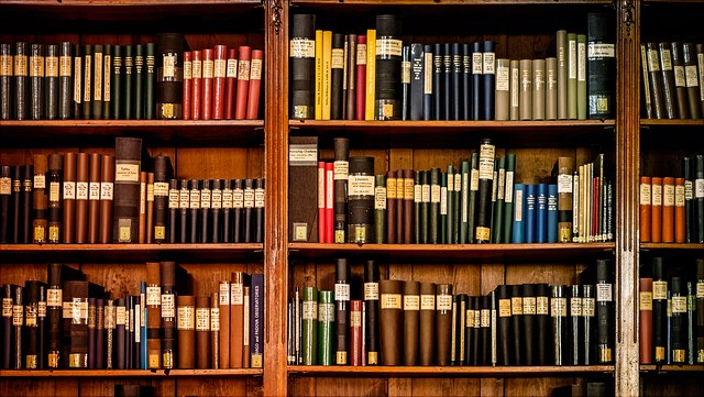 Bücherregal mit verschiedenen Büchern.