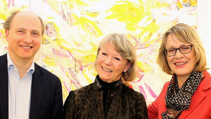 Prof. Drobetz mit Frau Wree und Frau Merkel