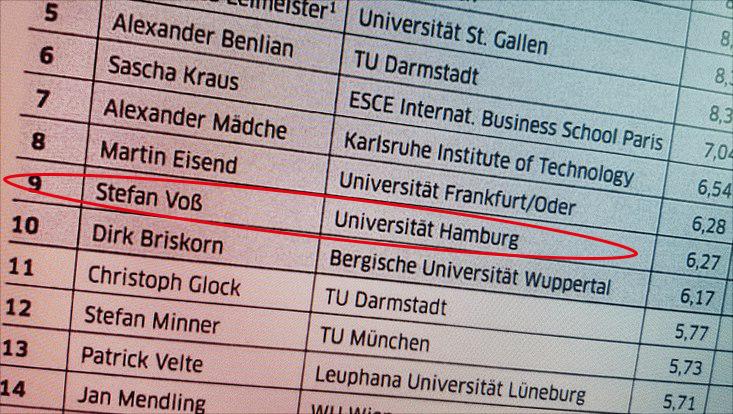 Prof. Dr. Stefan Voß unter den Top 10 im BWL-Ranking