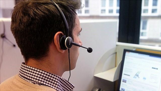 Telefonist im Telefonlabor der WiSo-Fakultät