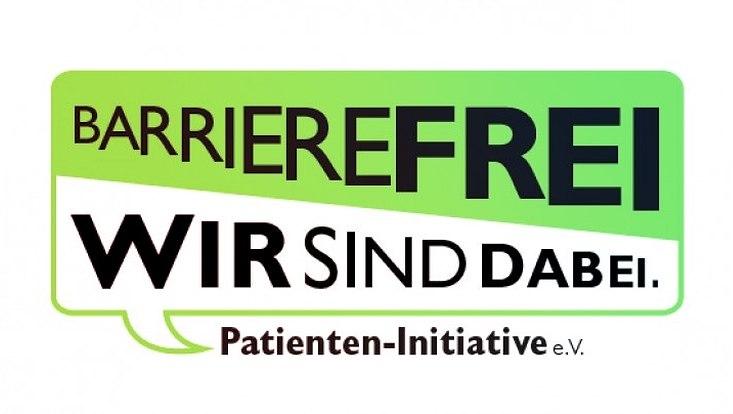 """Logo der Webseite von der Patienteninitiative e.V. """"Barrierefrei, wir sind dabei"""""""