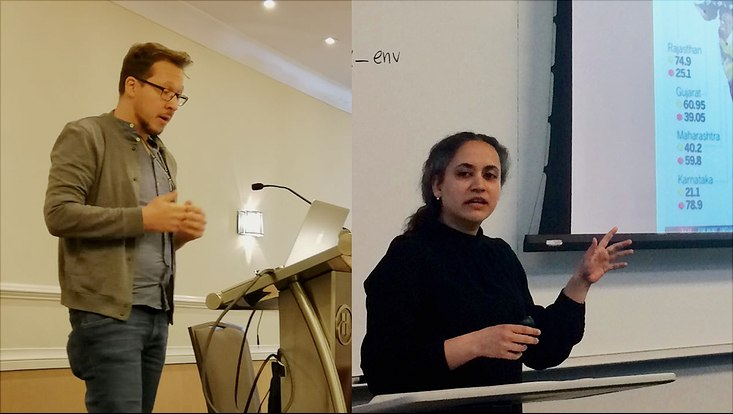 Gerret von Nordheim (l.) und Dr. Radhika Mittal (r.) präsentieren ihre wissenschaftliche Arbeit in Washington, D.C.