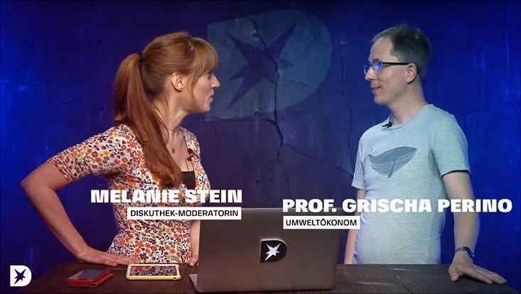 Rechts Prof. Perino bei stern.de, links Moderatorin Melanie Stein