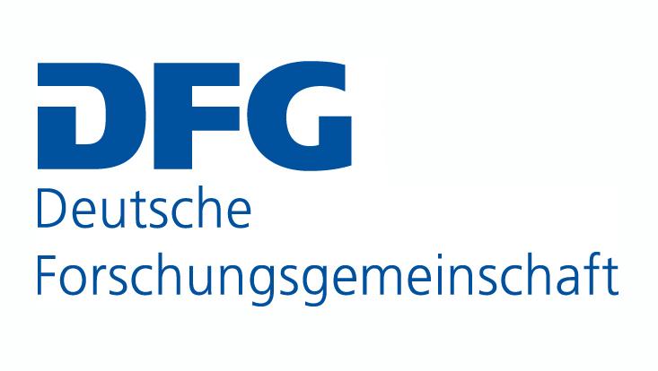 Logo der Deutschen Forschungsgemeinschaft in blauben Lettern auf weißem Grund