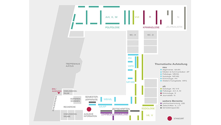 Orientierungsplan Fachbibliothek Sozialwissenschaften / Floor plan Social Sciences Library