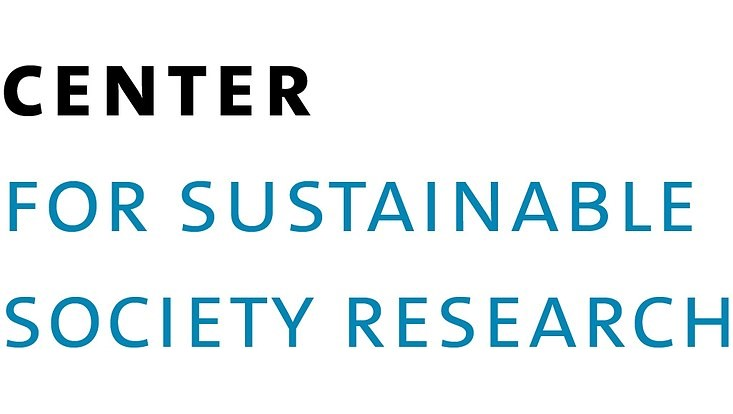 Schrift schwarz/blau auf weiß: Center for sustainable society research