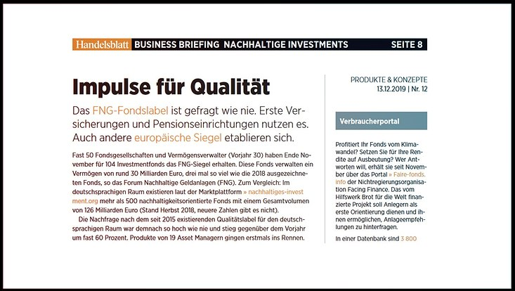 Interview Handelsblatt