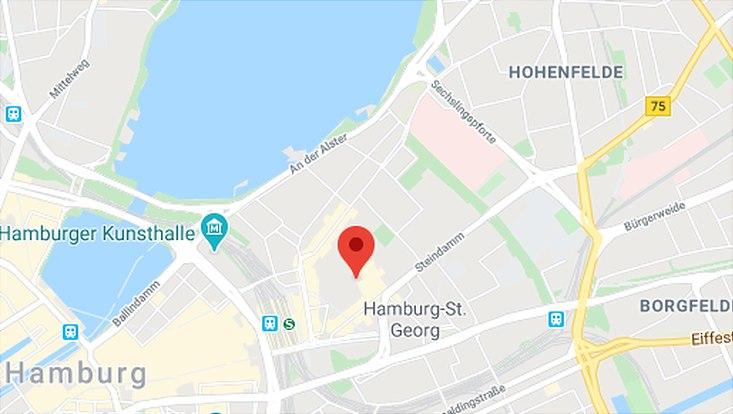 Google-Maps Kartenansicht vom Hansaplatz