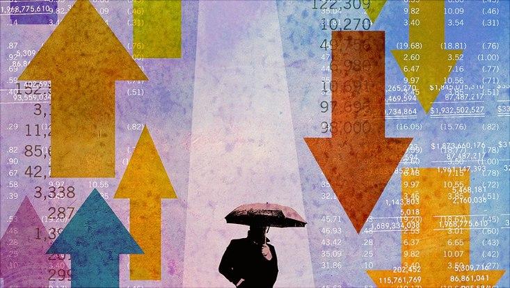 Grafisches Bild verschiedener Aktienkurse und einem aufgespannten Schirm