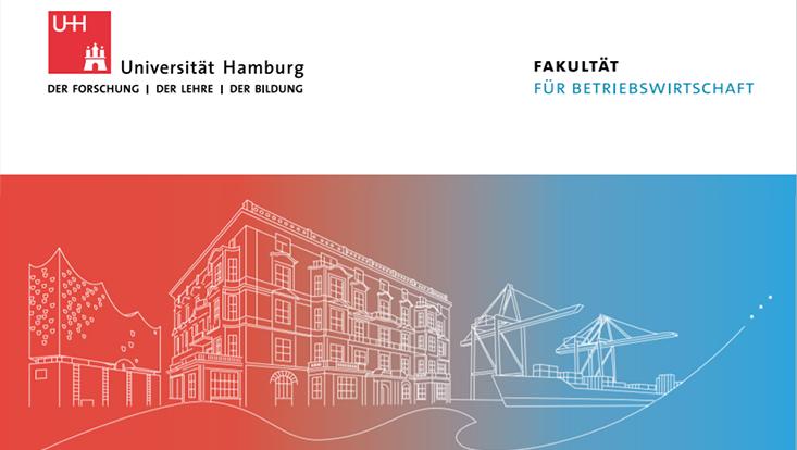 Cover der Imagebroschüre mit Siluette des Hauses der Betriebswirtschaft, der Elbphilharmonie und eines Krans