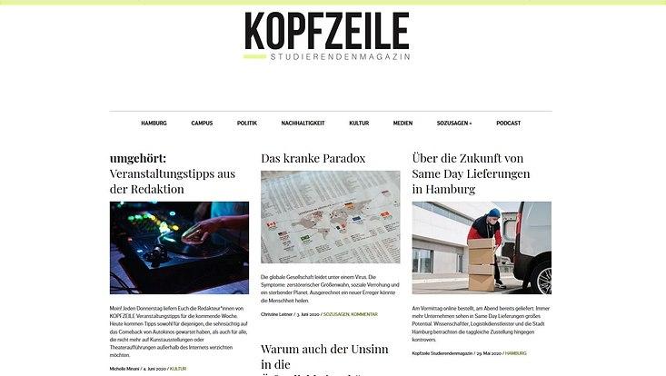"""Die Startseite des Magazins """"Kopfzeile"""""""