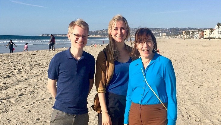 Silke Boenigk, Peter Schubert and Annika Becker on Mission Beach, San Diego