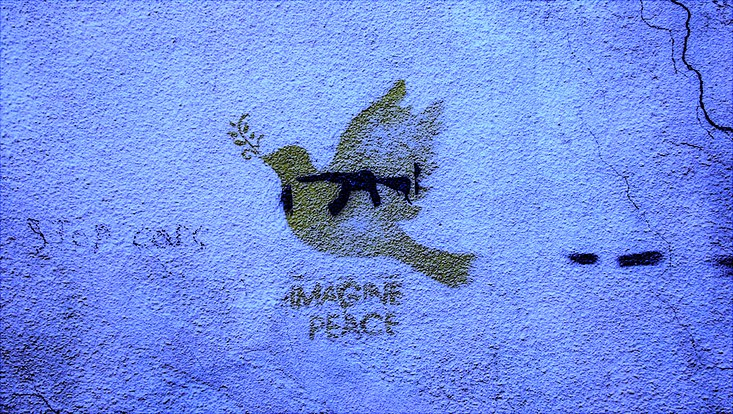 Dove graffiti tagged Imagine Peace