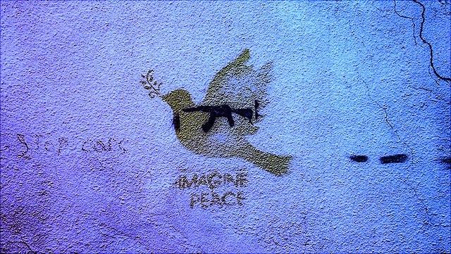 Dove graffiti tagged Imagine Peace