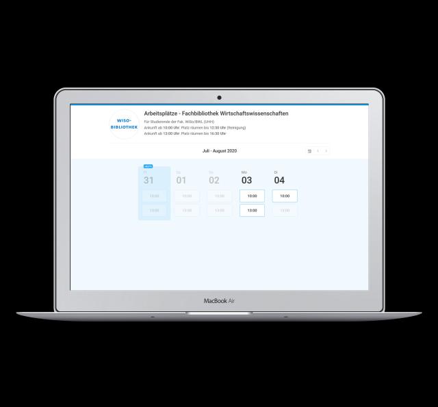 Anzeige der Buchungssoftware für Arbeitsplätze / Display of booking options for work stations