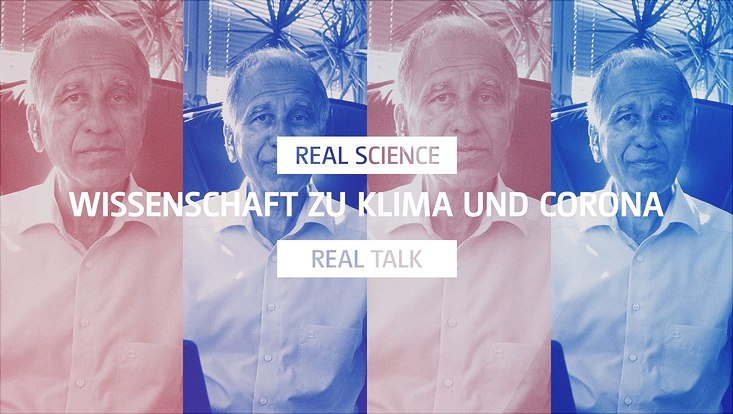 "Title Page DKK Video Serie Climate and Corona, Mojib Latif can be seen in four pictures, coloured red and blue. In front of these pictures is a white caption saying ""Wissenschaft zu Klima und Corona"""