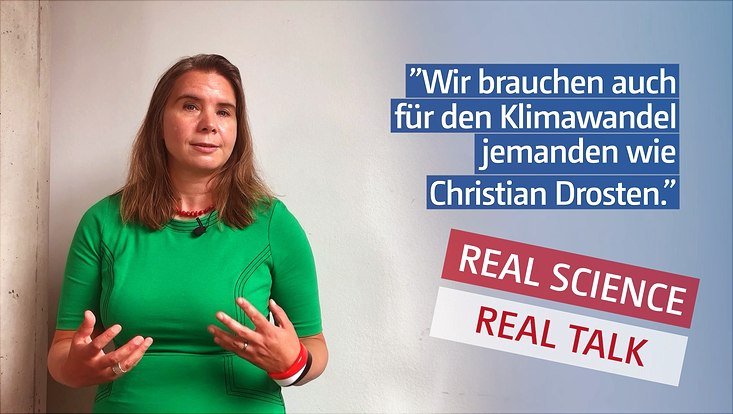 "Prof. Dr. Katharina Kleinen-von Königslöw in a green dress, accompanied by the quote ""We also need someone like Christian Drosten for climate change"" and the Real Science, Real Talk trademark"
