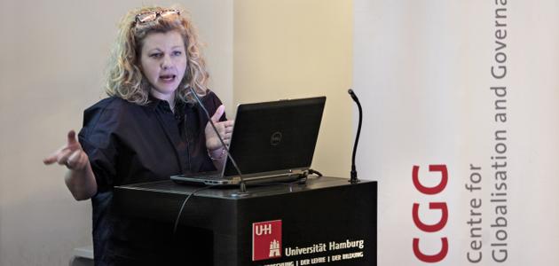 Professor Tine Rostgaard holding her lecture