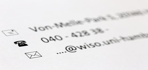 Kontaktdaten des Studienbüro Volkswirtschaftslehre auf ein Blatt (Teilausschnitt)