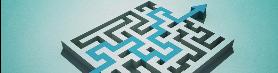 Dicke Linie zeigt Start und Ende durch ein Labyrinth