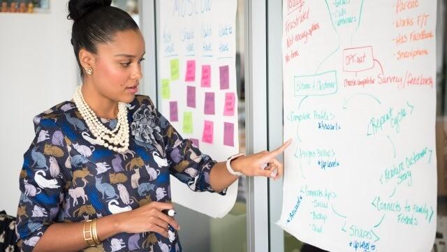 Frau zeigt etwas an einem Flipchart/Women showing something on flipchart