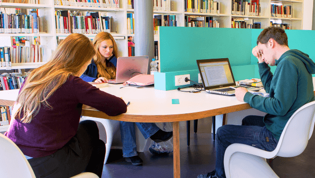 Studierende arbeiten in der Fachbibliothek Sozialwissenschaften/Students studying in the Social Science Library