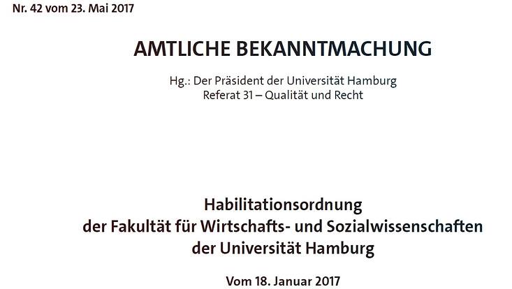 Habilitationsordnung der Fakultät für Wirtschafts- und Sozialwissenschaften