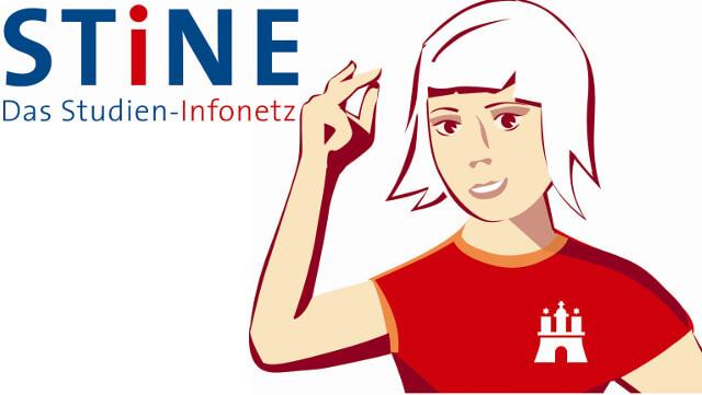 stine-logo mit weißem Hintergrund, einer weiblichen Zeichenfigur mit rotem t-shirt und dunkelblauer stine-schrift links oben