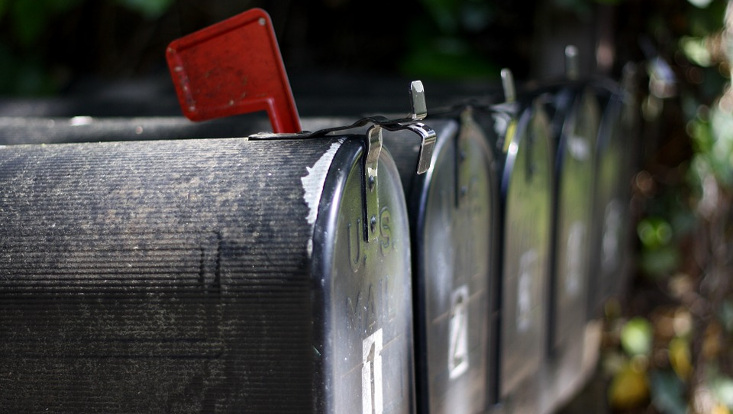 Reihe von Briefkästen