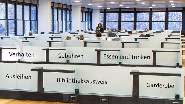 Reihen von Bibliotheksarbeitsplätzen mit Stichworten auf den Raumteilern aus Glas/Rows of library wordspaces with keywords printed on the glass screens