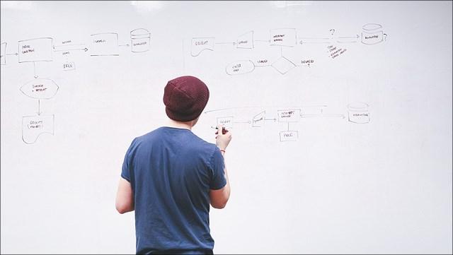 ein junger Mann zeichnet Mind-Maps auf ein White Board