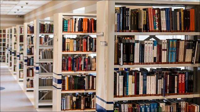 eine Reihe an Bücherregalen in einer Bibliothek